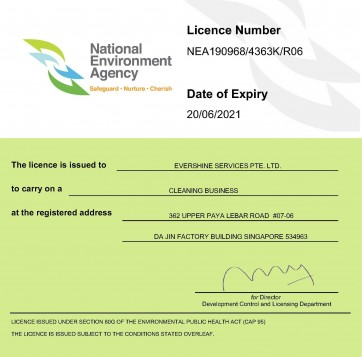 Cleaning Business License Certificate 20062021